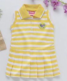 Little Kangaroos Sleeves Collar Neck Frock Stripes Pattern - Yellow