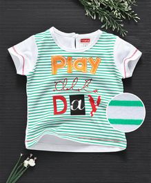 Babyhug Half Sleeves Striped Tee Play All Day - Green White