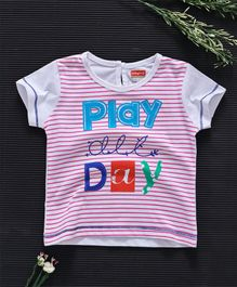 Babyhug Half Sleeves Striped Tee Play All Day - Pink White