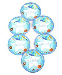 Funcart Disposable Paper Plates Sports Theme Blue Pack of 6 - 22.8 cm each