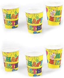 Funcart Birthday Theme Paper Cups Blue Pack of 6 - 266 ml each
