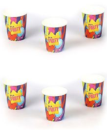 Funcart Party Theme Paper Cups Multi Color Pack of 6 - 266 ml each