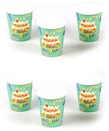 Funcart Birthday Theme Paper Cups Green Pack of 6 - 266 ml each