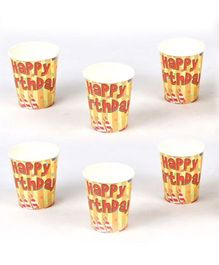 Funcart Birthday Theme Paper Cups Yellow Pack of 6 - 266 ml each