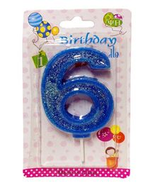 Funcart Number Six Glitter Candle - Blue