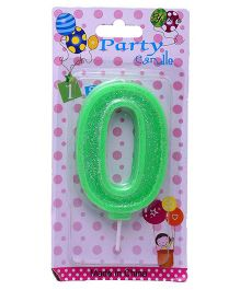 Funcart Number Zero Glitter Candle - Green
