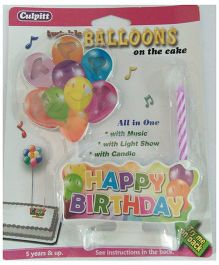 Funcart Musical Candle With Happy Birthday Balloons - Multicolour