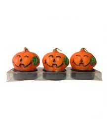 Funcart Halloween Pumpkin Candles Pack of 3 - Orange