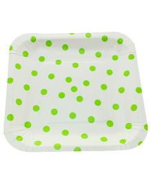 Funcart Square Shape Paper Plates Polka Dots Print Green & White - 12 Pieces
