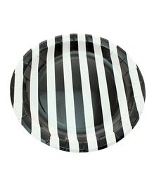 Funcart Black Sailor Striped Round Plates Pack of 12 - 9 inches each