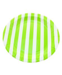 Funcart Black Sailor Striped Round Plates White Green Pack of 12 - 9 inches each