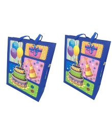 Funcart 3D Birthday Cake Gift Bag Pack of 2 - Blue & Multi Colour