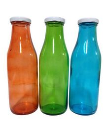 Funcart Fancy Glass Bottles Pack of 3 (Assorted Colors) - 500 ml Each
