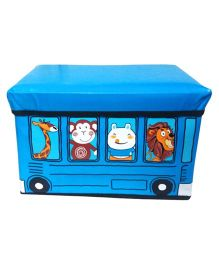 Funcart Storage Box Cum Kids Stool Bus Design - Blue