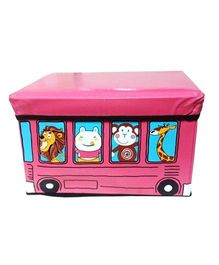 Funcart Storage Box Cum Kids Stool Bus Design - Pink