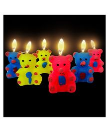 Funcart Teddy Bear Candles Pack of 6 - Yellow Pink Blue