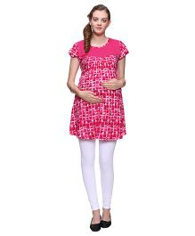 Mamma's Maternity Short Sleeves Nursing Tunic Printed - Pink