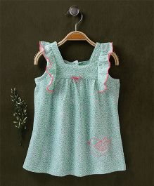 Babyhug Flutter Sleeves Printed Frock Bird Embroidery - White Sea Green