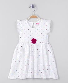 Babyhug Cap Sleeves Dotted Frock With Corsage - White