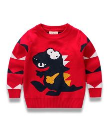 Pre Order - Awabox Dino Print Sweater - Red