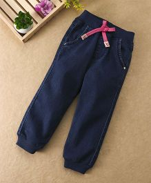 Babyhug Full Length Jogger Jeans With Drawstings - Dark Blue