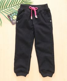 Babyhug Full Length Jogger Jeans With Drawstring - Black Pink