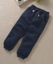 Babyhug Full Length Jogger Jeans With Four Pockets - Dark Blue