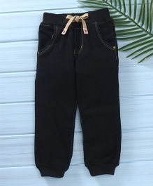 Babyhug Full Length Jogger Jeans With Drawstring - Black Cream