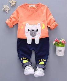 Funtoosh Kidswear Bunny Print Tee And Pant Set - Orange & Blue