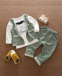 Funtoosh Kidswear Mustache Applique Tee With Attached Jacket With Pant Set - Green & White
