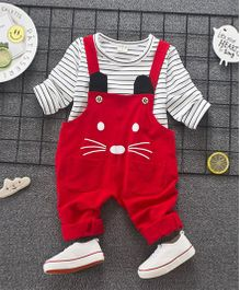 Funtoosh Kidswear Striped Tee And Dungaree Set - Red & White