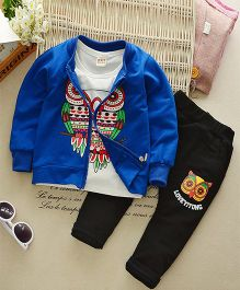 Funtoosh Kidswear Owl Print Tee And Pant With Jacket - Blue & White
