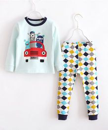 Funtoosh Kidswear Car Print Tee With Checks Print Pant Set - Blue