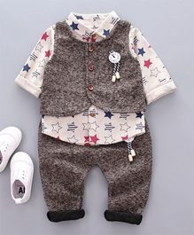 Funtoosh Kidswear Star Print Shirt With Waist Coat And Pant Set - Brown & White
