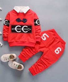 Funtoosh Kidswear Smart Tee With Bow And Pant Set - Red