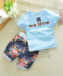 Funtoosh Kidswear Smart Top And Floral Pant Set - Blue