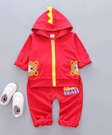 Funtoosh Kidswear Teddy Bear Zipper And Pant Set - Red