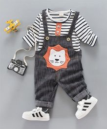 Funtoosh Kidswear Striped Tee And Cat Print Dungaree Set - White & Grey
