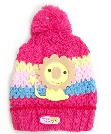 Kidofash Lion Applique Cap - Dark Pink