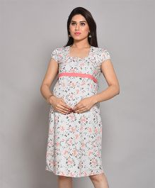 Mama & Bebe Maternity Dress Floral Print - White & Pink