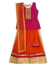 Kid1 Festive Peplum Top With Net Lehenga  - Pink & Orange