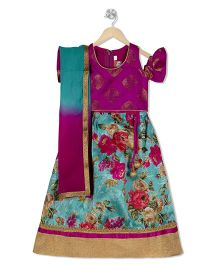 Kid1 Floral Lehenga With Flutter Sleeves Choli & Dupatta - Pink & Green