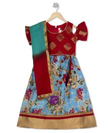 Kid1 Floral Lehenga With Flutter Sleeves Choli & Dupatta - Red & Blue
