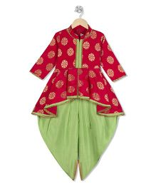 Kid1 Printed Peplum Kurti & Dhoti Pants - Pink & Green