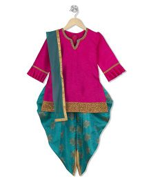 Kid1 Kurti With Dhoti Pants & Dupatta - Pink & Blue