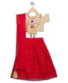 Kid1 Ele Design Cold Shoulder Choli With Lehenga & Dupatta - Gold & Red