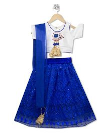 Kid1 Ele Design Cold Shoulder Choli With Lehenga & Dupatta - White & Blue