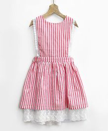 Pluie Gingham Stripes Pinafore With Lace Hem & Back Bow - Pink