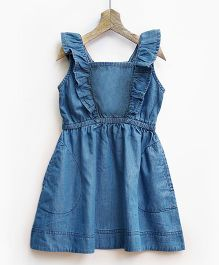 Pluie Mid Wash Denim Pinafore With Ruffles - Blue
