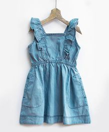 Pluie Ice Wash Denim Pinafore With Ruffles - Blue